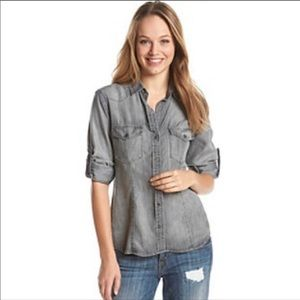 {Anthro} Cloth & stone chambray gray button down